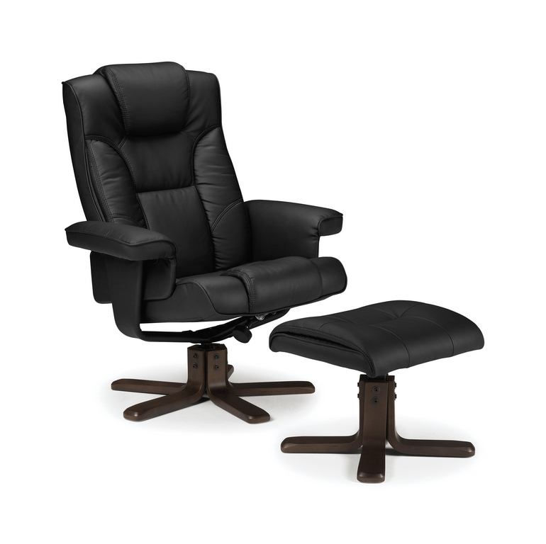 Malmo Swivel Recliner Chair and Stool in Black