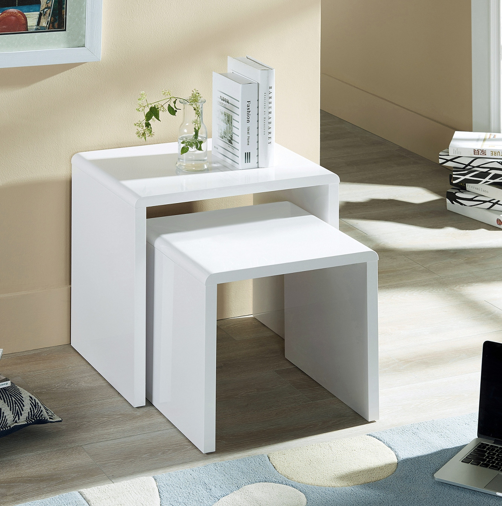 Manhattan Nest Of Tables in White High Gloss £79