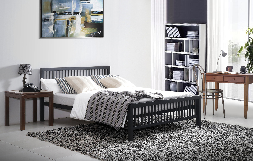 Time Living Meridian Metal Frame Bed in Black from £149