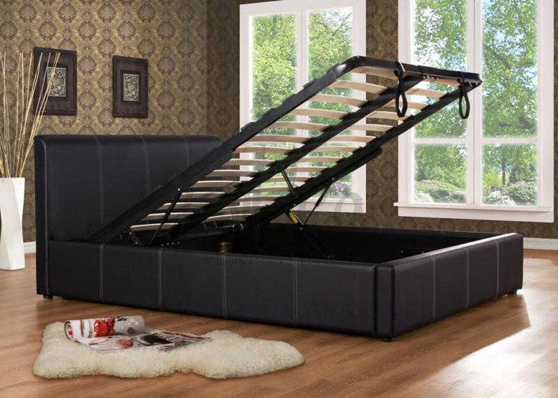 Ottman Lift Up Storage Bed Frame in Black Faux Leather