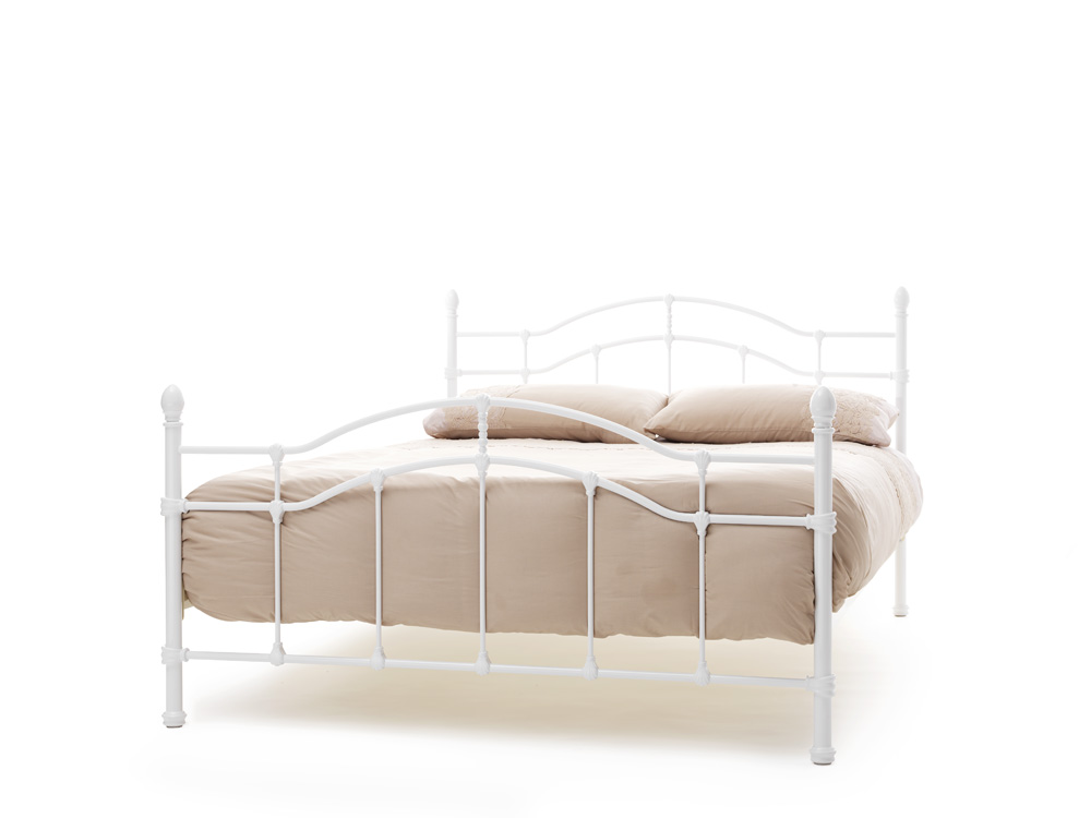 Serene Paris White Gloss Metal Frame Bed 129 Beds Direct Warehouse