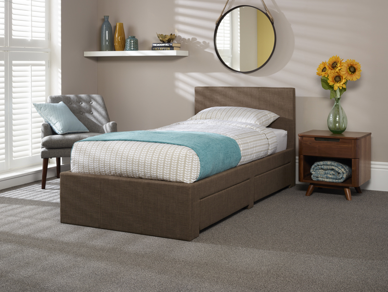 Serene Scarlett 3ft Single Upholstered Chocolate Two Drawer Bed Frame £259