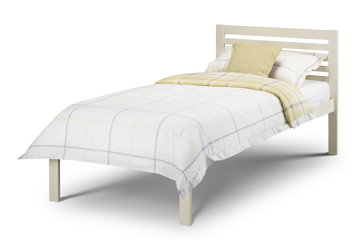Julian Bowen Slocum Stone White Wooden Bed Frame with Mattress Option from £79