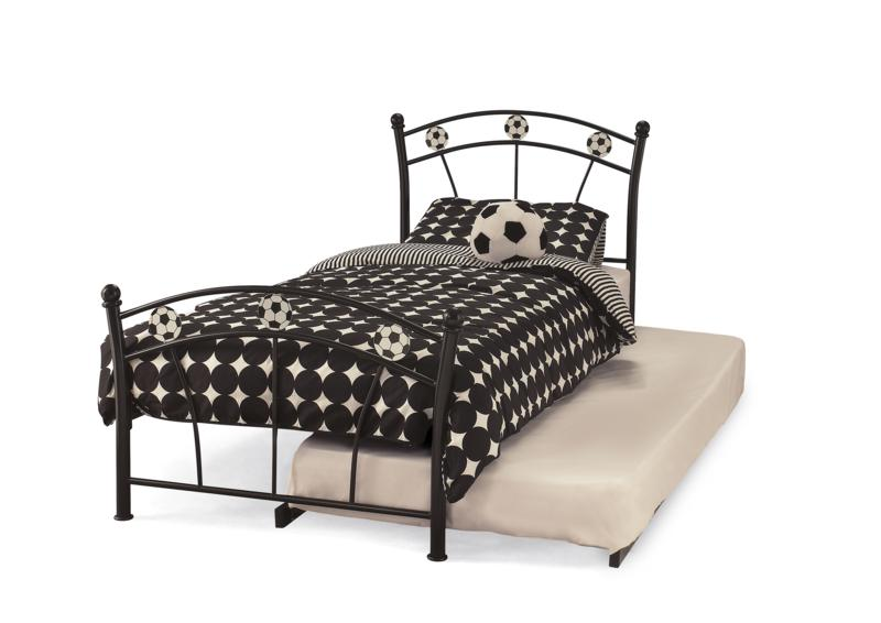 Serene Football Soccer Black 3ft Single Metal Frame Guest Bed GBP159