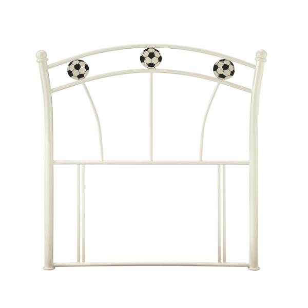 SERENE Football Soccer White Metal Headboard