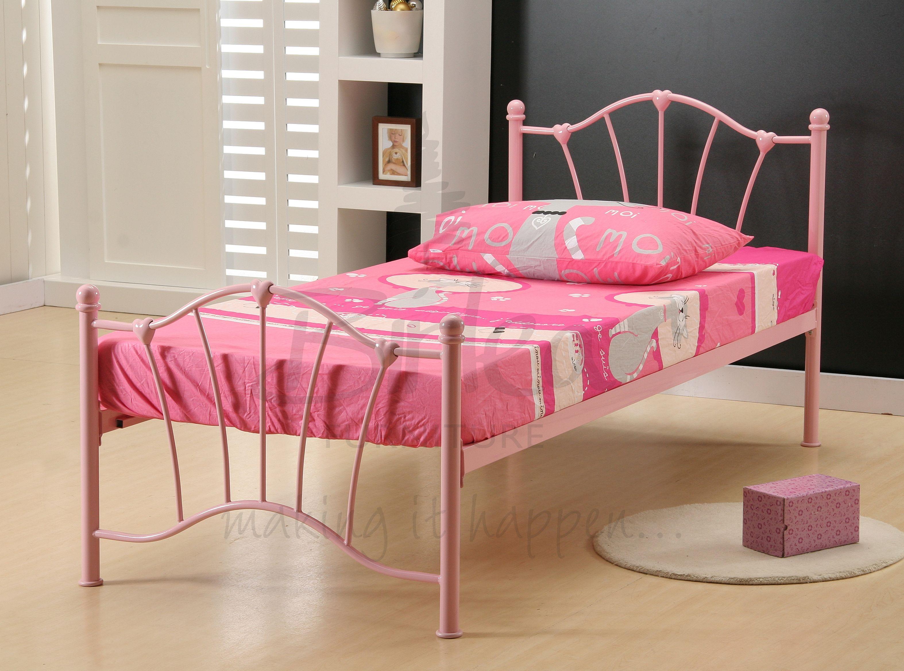 BIRLEA Sophia Pink 3ft Single Metal Bed Frame £79, Beds
