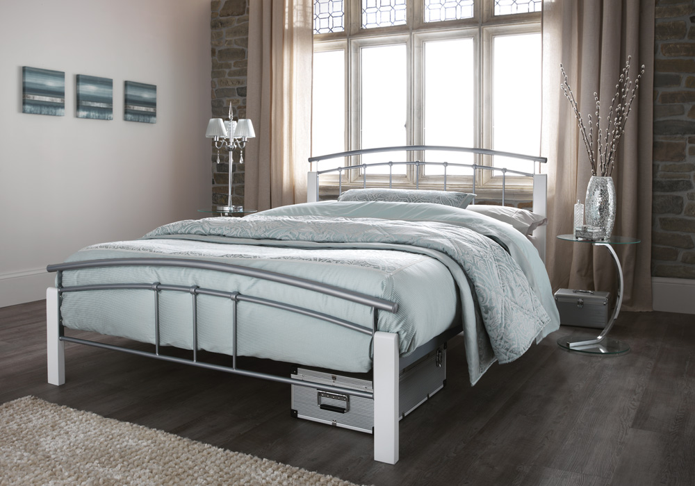 serene tetras silver and white metal frame bed beds direct warehouse