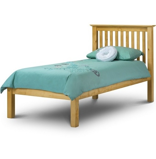 Barcelona 3ft single low foot end pine wooden bed frame for Low to floor single bed