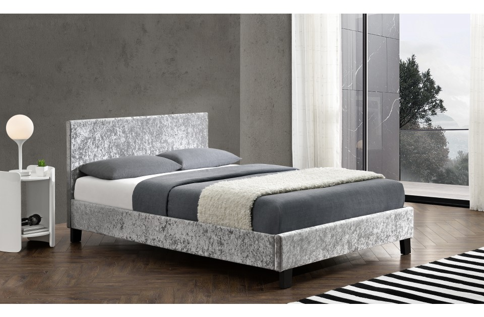Birlea Berlin Fabric Bed Frame in Steel Crushed Velvet from £109