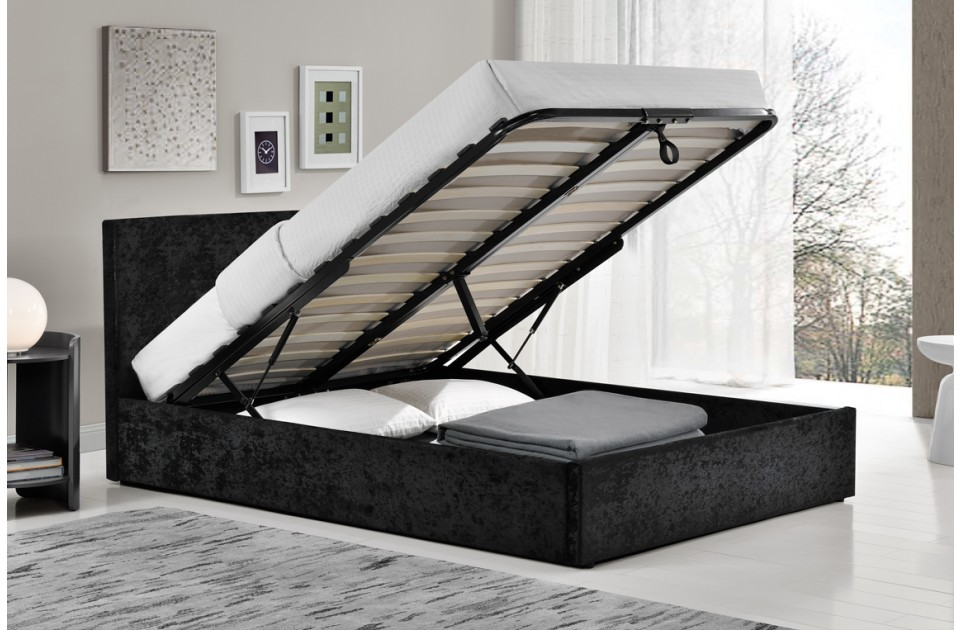 Birlea Berlin Fabric Ottoman Bed Frame in Black Crushed Velvet from £219