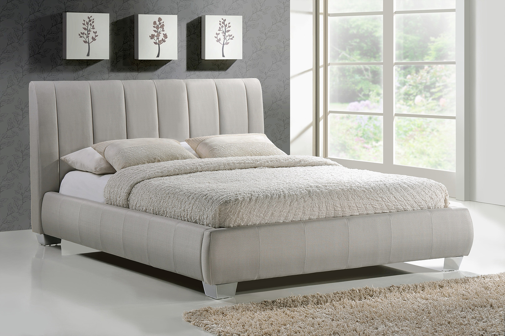 Braunston Fabric Bed Frame in Sand from Time Living £279