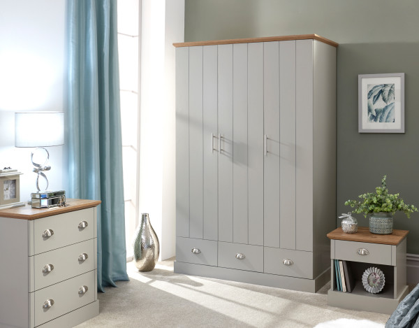 Kendal 3 Door 3 Drawer Wardrobe in Grey £259