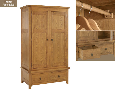 Solid Oak 3 Door Wardrobe With 2 Drawers