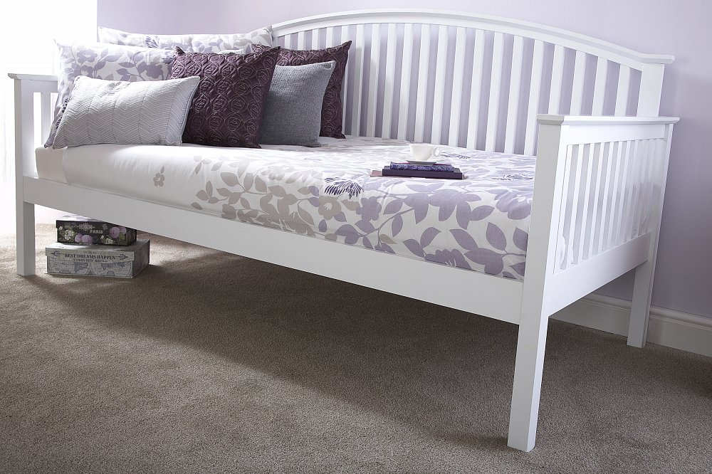 GFW Furniture Madrid Wooden Day Bed and Trundle option in White Finish from £219