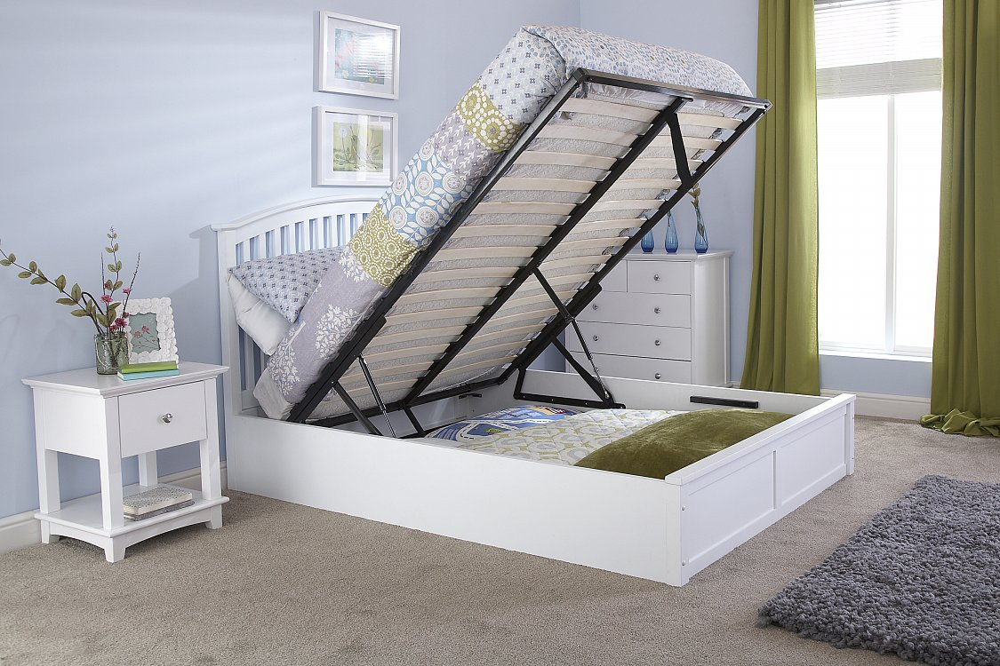 gfw madrid wooden ottoman bed frame in white beds direct. Black Bedroom Furniture Sets. Home Design Ideas