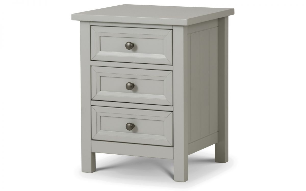Maine Dove Grey 3 Drawer Bedside by Julian Bowen £119