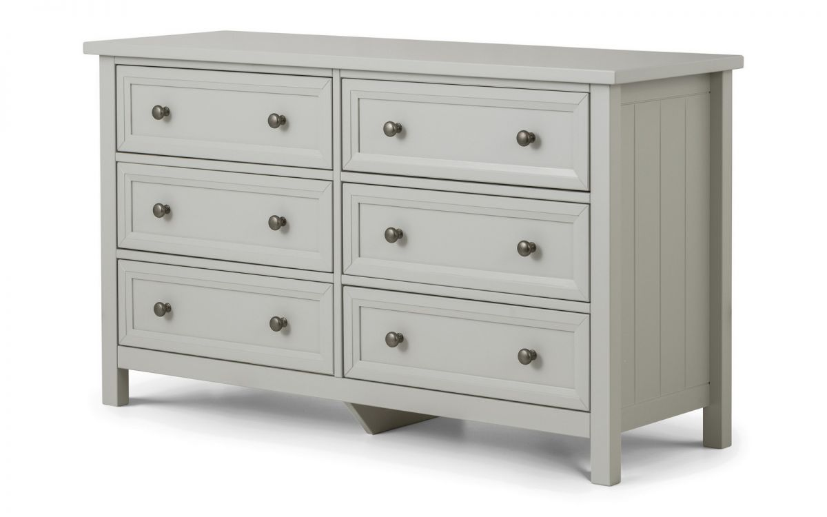 Maine Dove Grey 6 Drawer Wide Chest by Julian Bowen £289