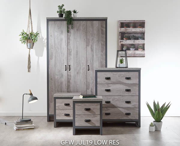 Boston 4 Piece Bedroom Set in Grey £379