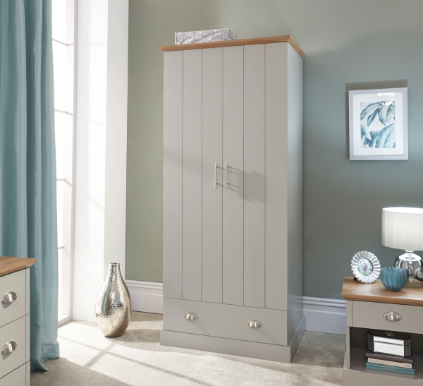 Kendal 2 Door 1 Drawer Wardrobe in Grey £189