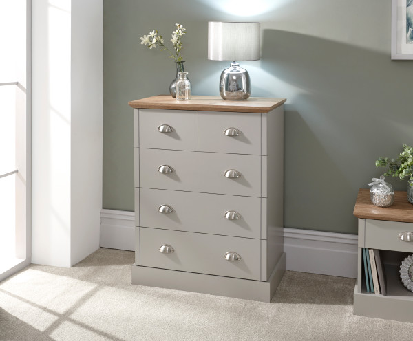 Kendal 2 + 3 Drawer Chest in Grey £129