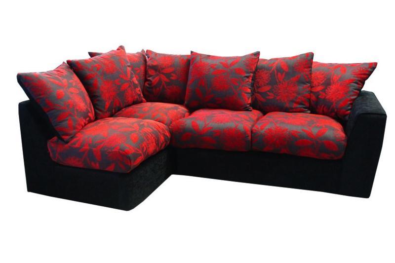 Samantha Black and Red Left Hand Corner Sofa £389
