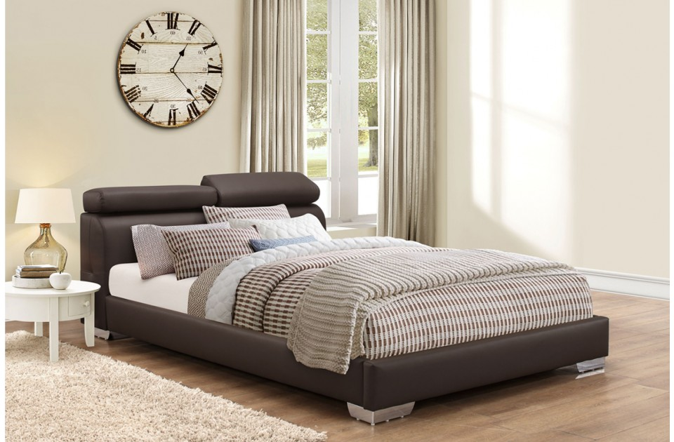 BIRLEA Signature Brown Faux Leather Bed Frame from £299