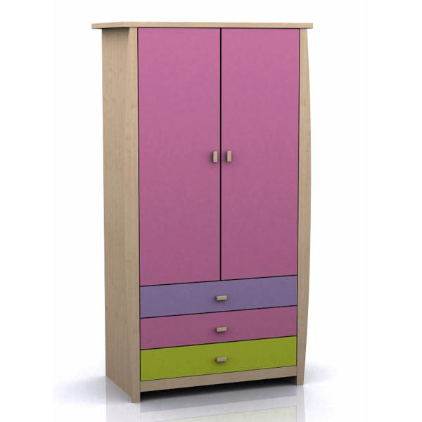 GFW SYDNEY Pink Childrens 2 Door 3 Drawer Wardrobe