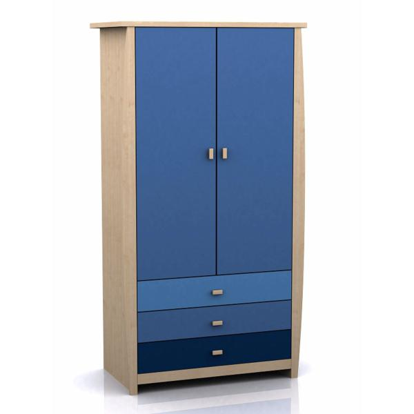 GFW SYDNEY Blue Childrens 2 Door 3 Drawer Wardrobe