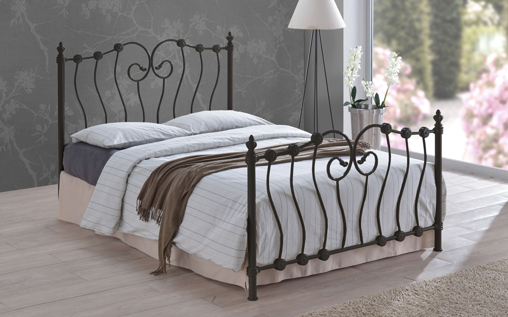 Inova Metal Frame Bed in Black or Ivory from £129