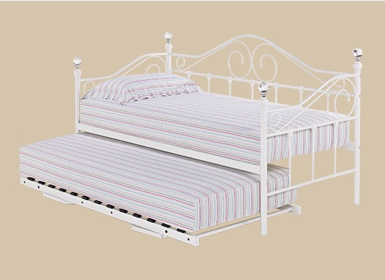LPD Florence 3ft Single White Metal Day Bed with Trundle option