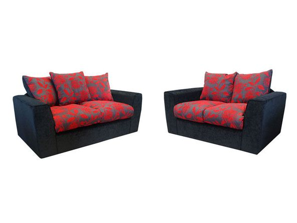 Samantha Black and Red Large and Regular Sofa Group