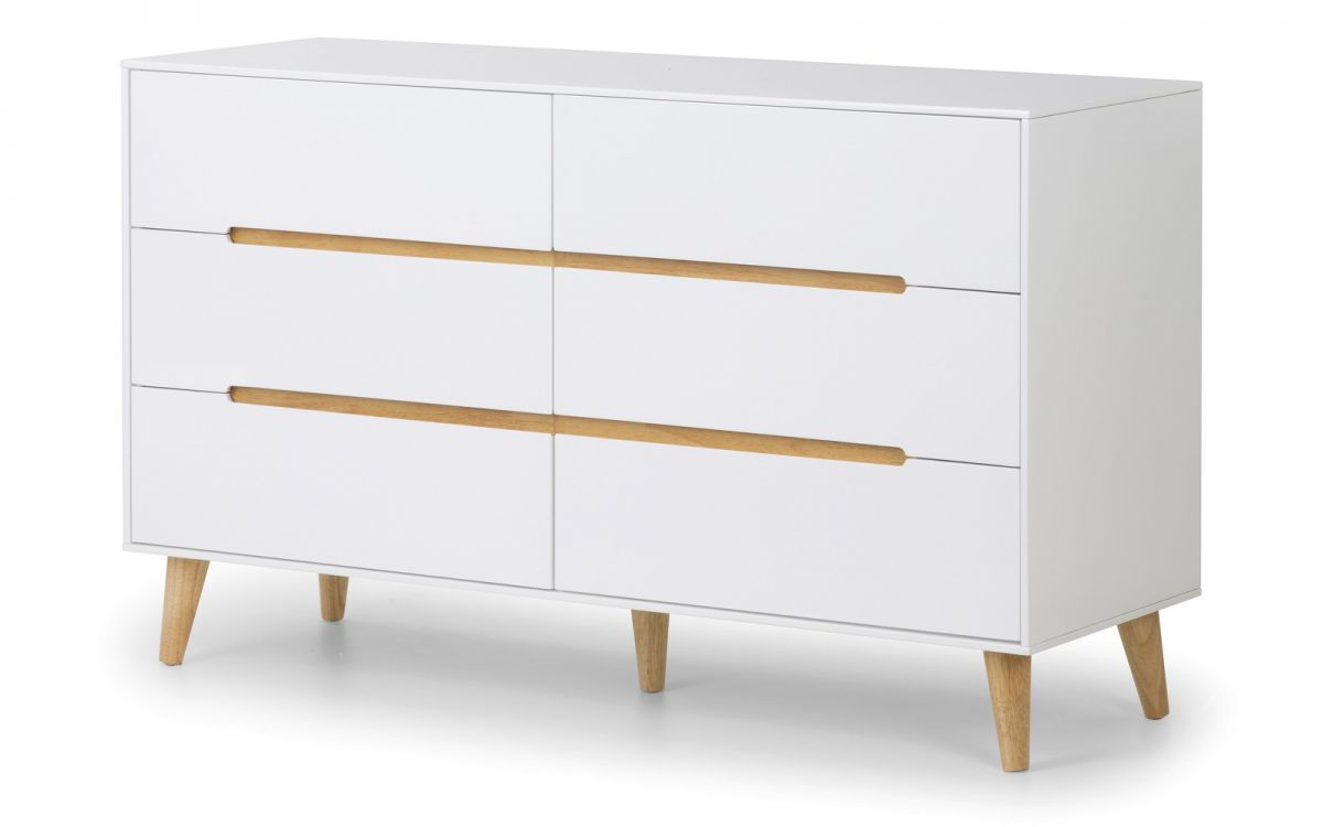 Julian Bowen Alicia 6 Drawer Wide White Chest £269