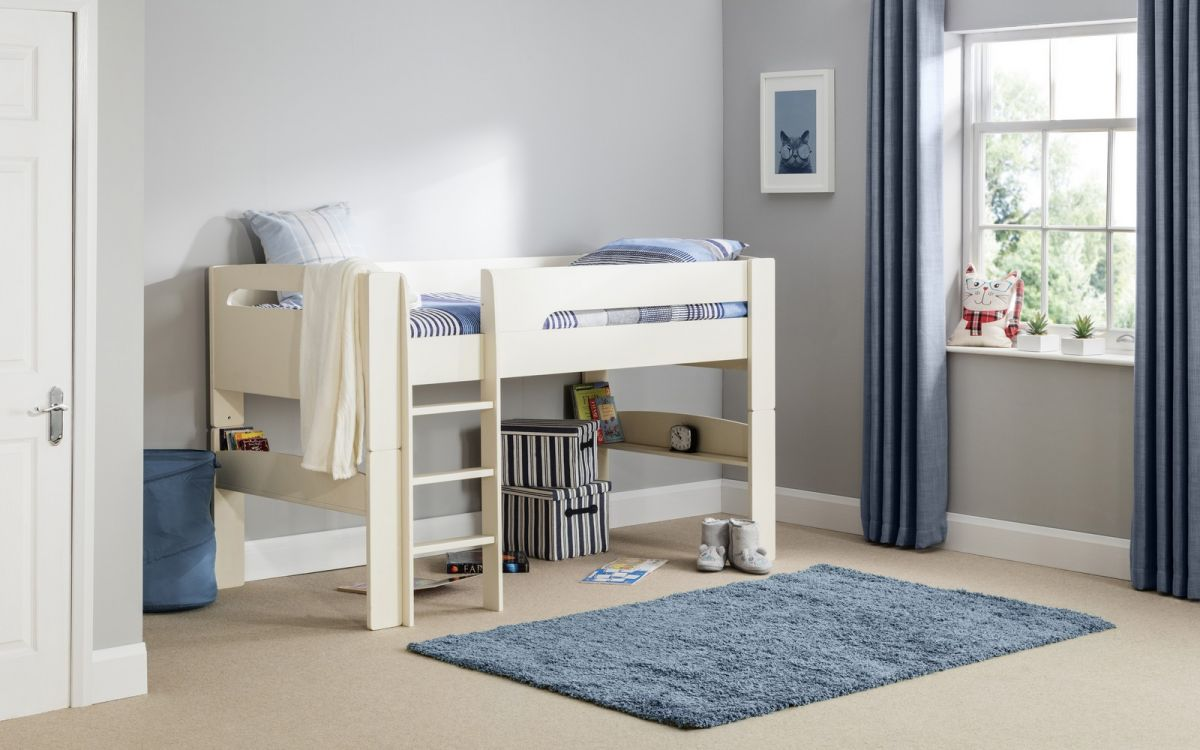 Pluto Mid Sleeper in Stone White with Blue Tent Option from £219