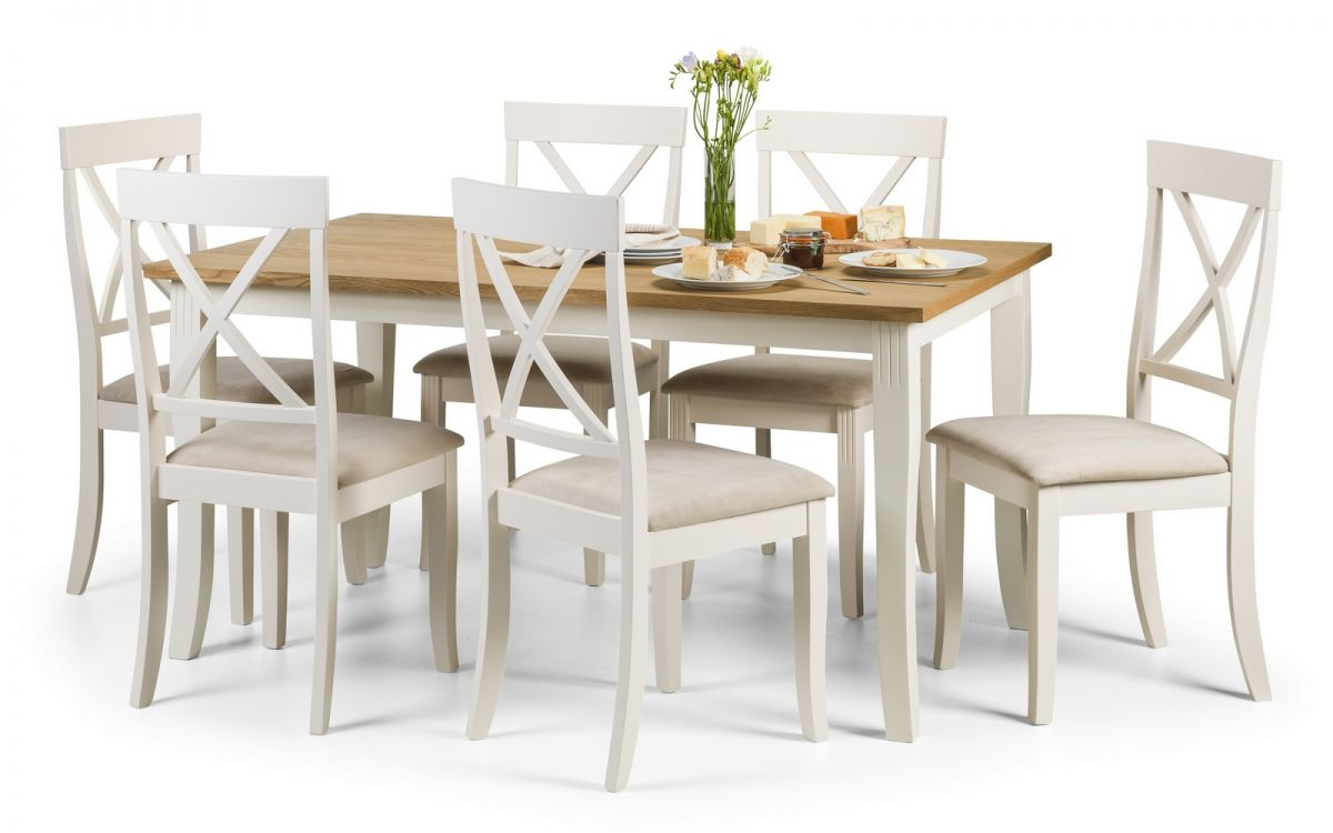 JULIAN BOWEN Davenport Oak and White Dining Table and Chairs Set £349