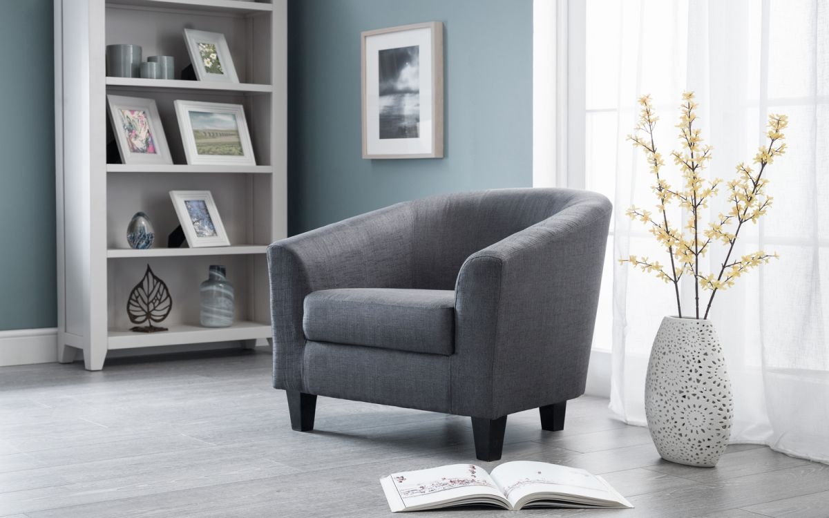 Hugo Fabric Tub Chair - Slate Grey £119