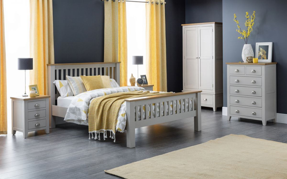 Richmond Wood Bed Frame in Elephant Grey and Oak from £399