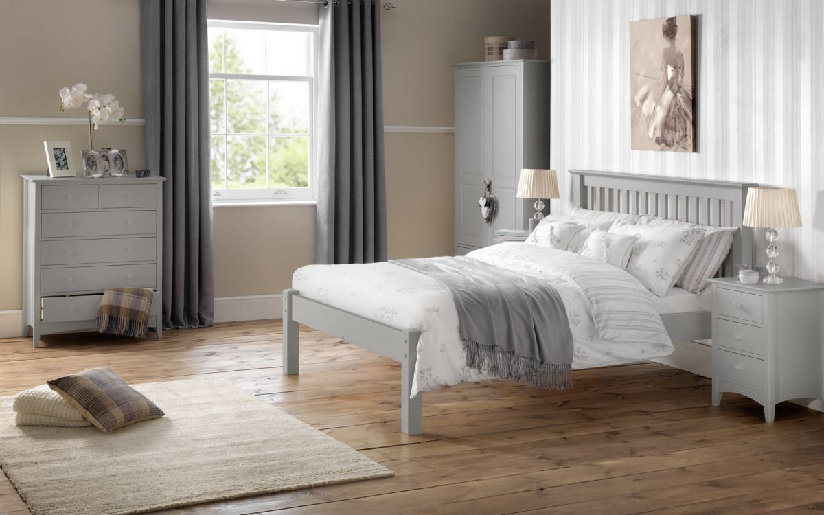 Julian Bowen Barcelona Dove Grey 4ft6 Double Wooden Bed Frame £239