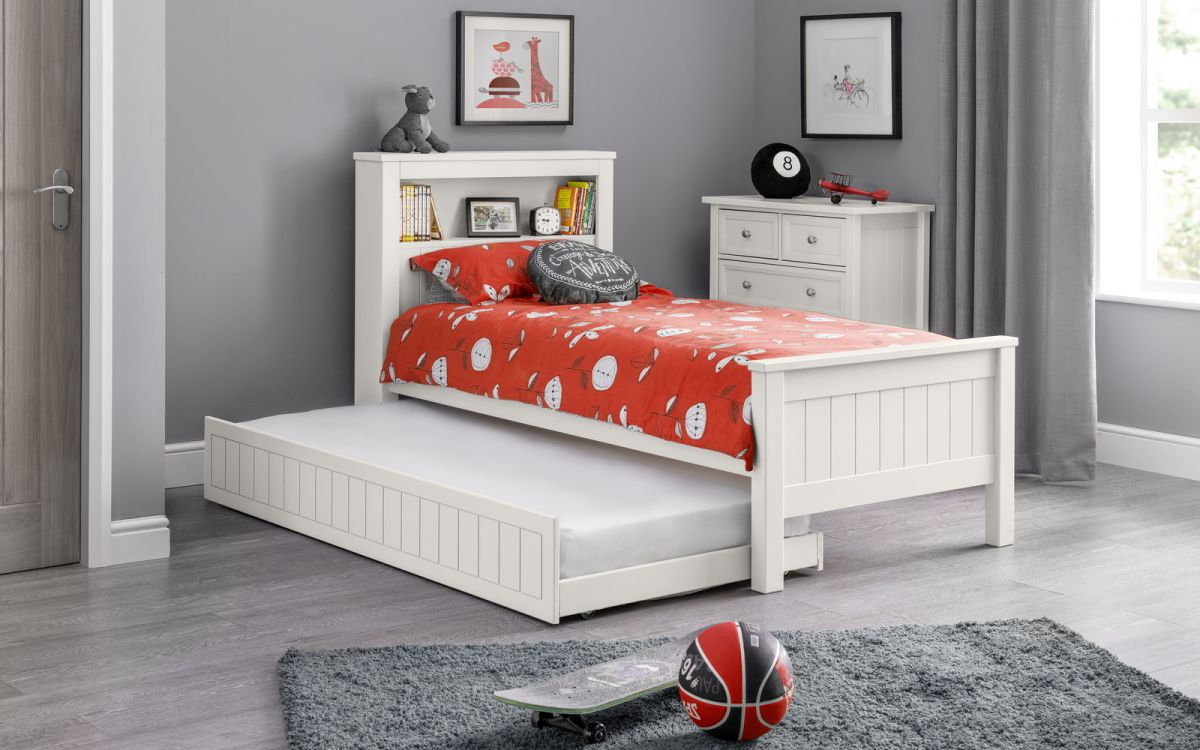 Maine Bookcase Bed in Surf White with Underbed Option £199