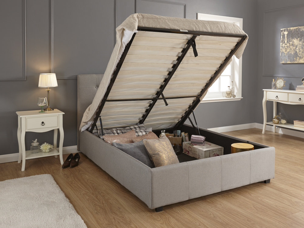 GFW REGAL Grey Fabric Ottoman Bed Frame £219
