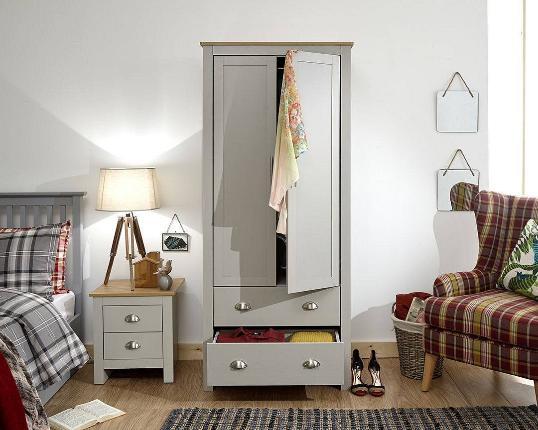 Lancaster 2 Door 2 Drawer Wardrobe in Grey £179