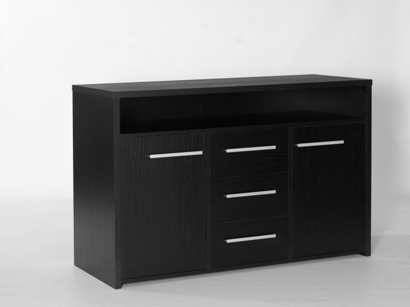 3 Drawer 2 Door Sideboard Black Ash