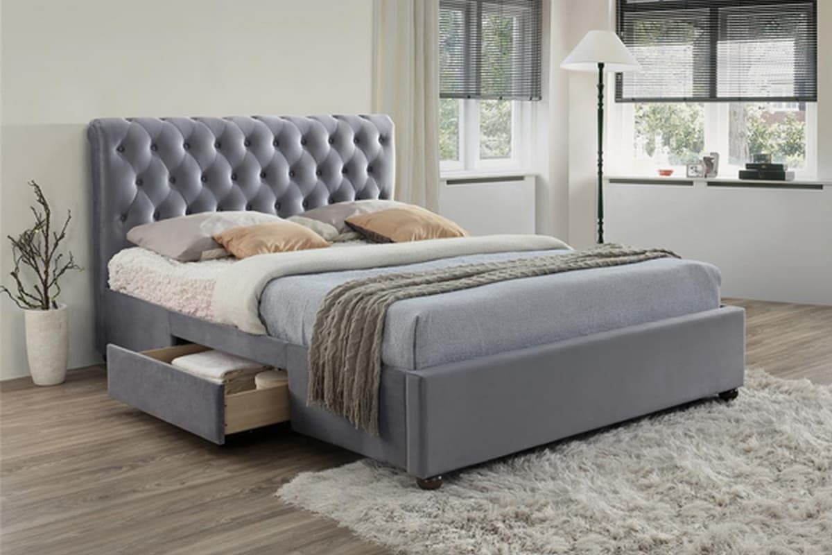 Marlow Grey Velvet Storage Bed from £399