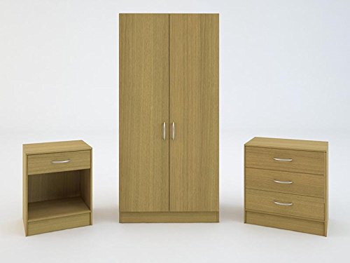 GFW Panama Wardrobe Chest and Bedside in oak £139