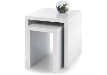 JULIAN BOWEN Metro White High Gloss Nest Of Tables £89