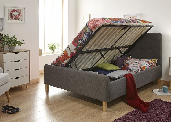 GFW Ashbourne Ottoman Storage Bed Frame in Grey from £219