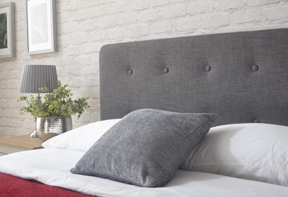 Ashbourne Grey Hopsack Fabric Bedstead 3ft Single 4ft6 Double 5ft Kingsize
