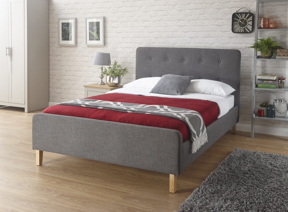 GFW Ashbourne Grey Fabric Bed Frame from £149