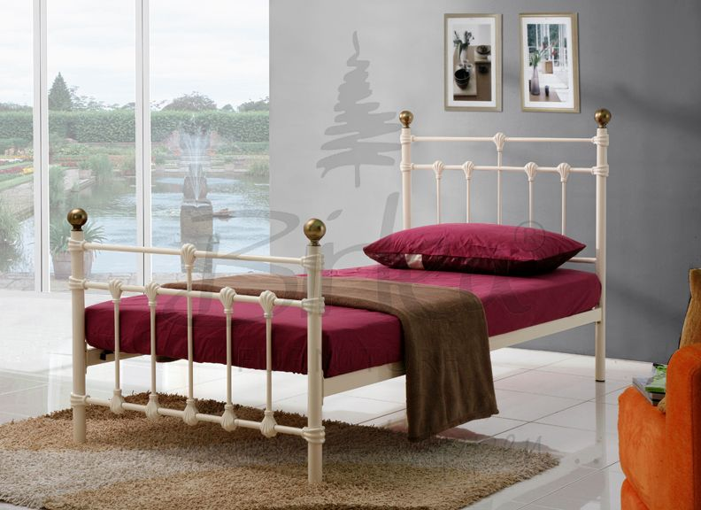 BIRLEA Atlas Cream Metal Frame Bed from £109