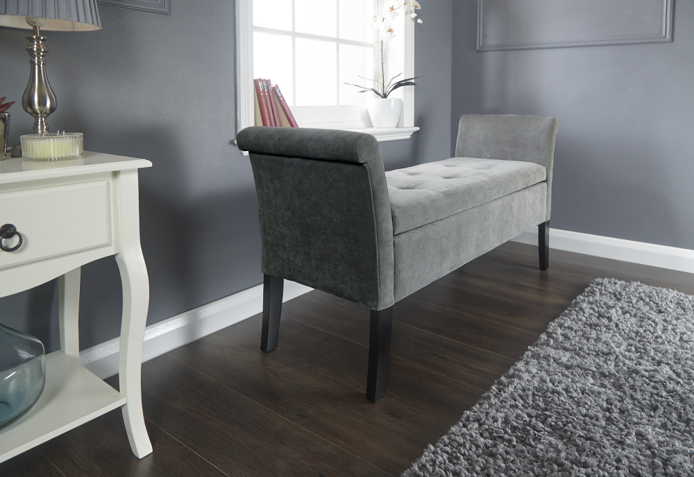 Balmoral Window Storage Seat in Grey Chennille £139