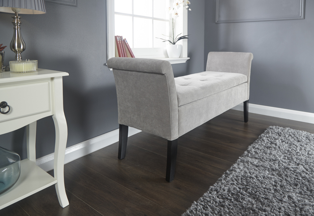 Balmoral Window Storage Seat in Silver Chennille £139